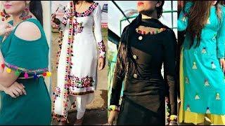 Latest Pom Pom Suit Designs PomPom Designs Patiala Kurta & Lehenga Saree/pom pom lace suit designs