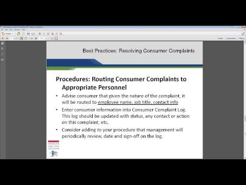 Best Practices -- Resolving Consumer Complaints
