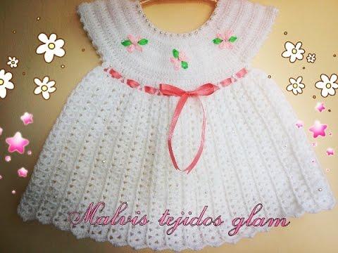 6251b1caf vestido para bebé tejido a crochet o ganchillo fácil y rápido - YouTube