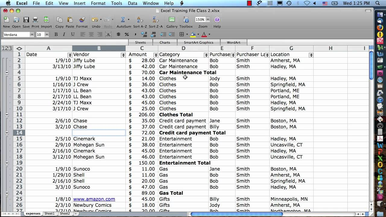 how to do subtotal in excel on mac