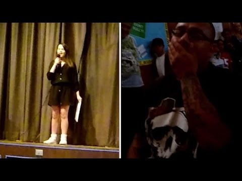 12YearOld Girl Asks Stepdad To Adopt Her With Song at School Talent Show