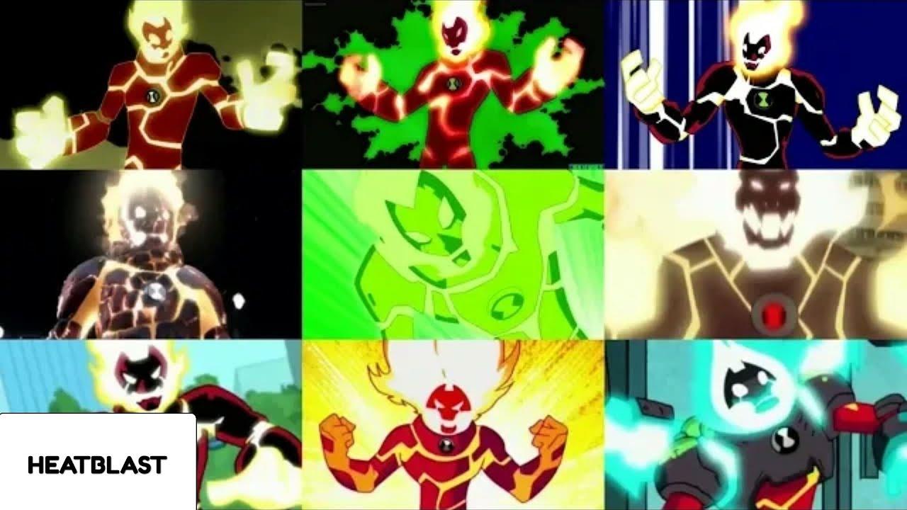 Ben 10 Every Version Of Heatblast Ultimate Alien Ben 10 Alien Force Youtube