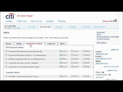 Citibank Online Sign In >> Citi QuickTake Demo: How to Set up Payment Alerts using ...