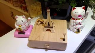 Handmade Wooden Music Box Eiffel Tower & Plane