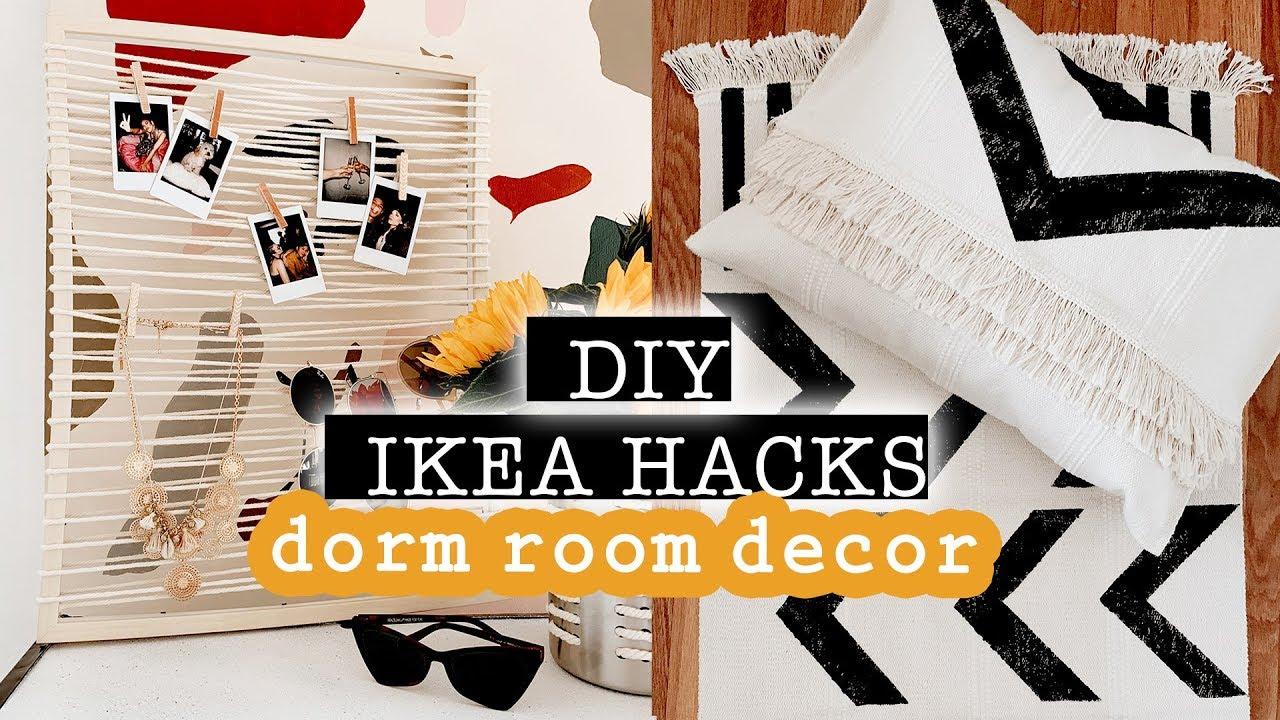 DIY IKEA HACKS: DORM ROOM DECOR // Small Room Decor Ideas 2019 *easy and  aesthetic*