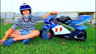 Funny Baby Unboxing, Assembling and Ride on New Sportbike Test Drive mini Power Wheel Bike