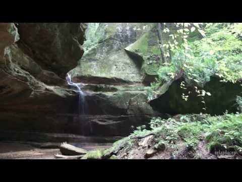 HD nature scenery screen: rocks and waterfall at Hocking Hills state park