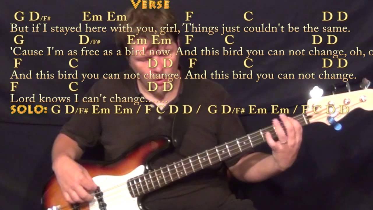 Freebird Bass Guitar Cover Lesson With Chordslyrics Youtube