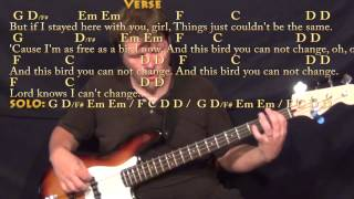 Freebird - Bass Guitar Cover Lesson with Chords/Lyrics