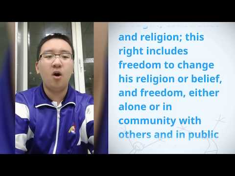 Chang Liu, China, reading article 18 of the Universal Declaration of Human Rights
