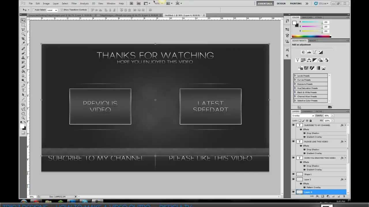 how to create a video outro photoshop tutorial youtube. Black Bedroom Furniture Sets. Home Design Ideas
