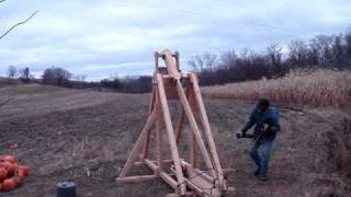 Trebuchet Catapult Throwing Pumpkin On Fire #2
