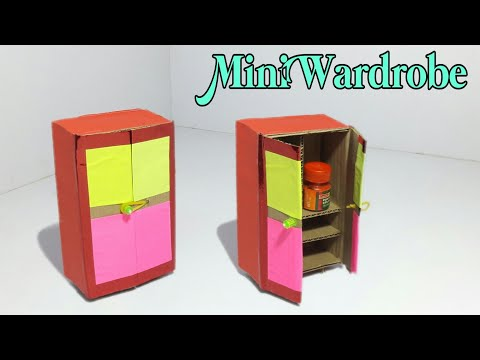 DIY - Mini Wardrobe Making Tutorial | Make Wardrobe With Cardboard | Dollhouse Furniture Making