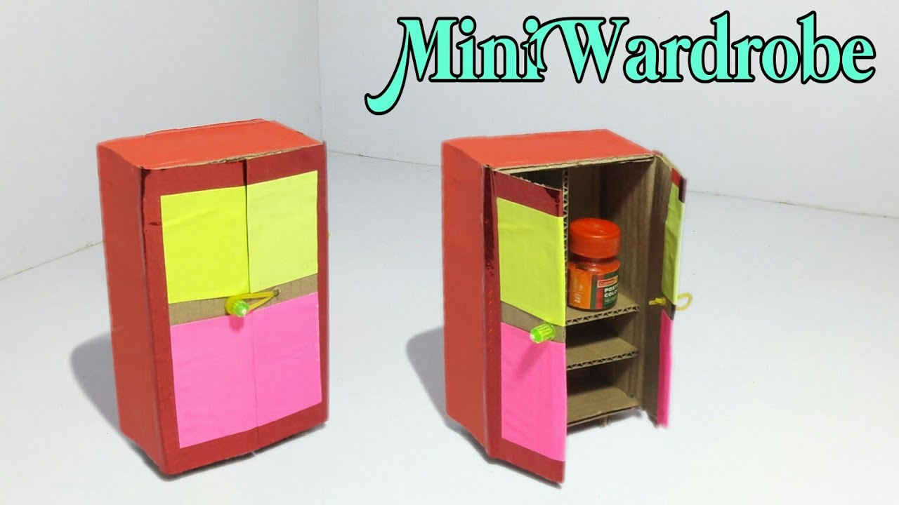 Diy Mini Wardrobe Making Tutorial Make Wardrobe With Cardboard Dollhouse Furniture Making