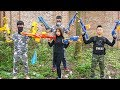 Nerf War Games: Prety Girl & Guards Nerf Guns Criminals S.W.A.T Rescue Sister