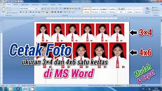 D.I.Y. Cara Cetak Foto Ukuran 3x4 dan 4x6 《How to print photo on MS. Word with different size》