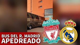 Así quedó el bus del Madrid tras ser apedreado por hooligans del Liverpool