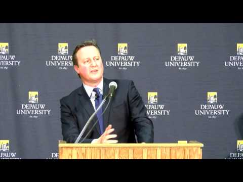 December 2016 - Former British Prime Minister David Cameron at DePauw University for Ubben Lecture