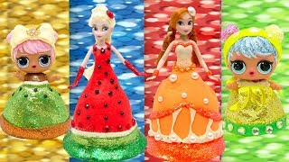 Play Doh DIY LOL Frozen Fruits Dress Elsa and Anna Learn Colors Sparkle Costume Makeover
