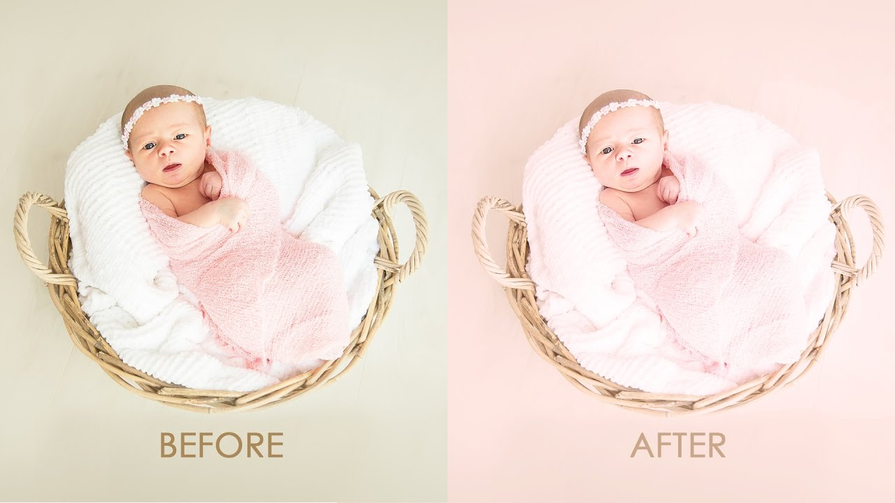 Newborn color processing baby photo editing photoshop tutorial psd action included