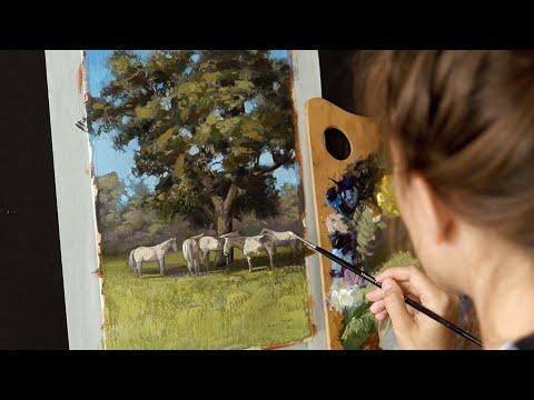 Масляная живопись для начинающих. Рисуем пейзаж  #5 Oil painting art tutorial thumbnail