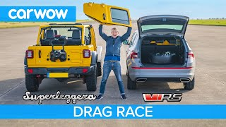 Jeep 'Superleggera' vs Skoda Kodiaq vRS – DRAG RACE, ROLLING RACE & BRAKE TEST
