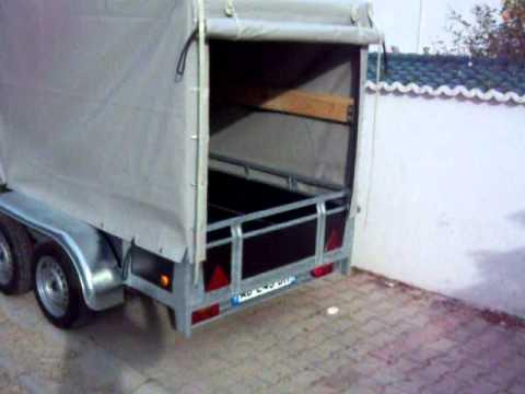 remorque double essieux avec bache 257 x 138 cm youtube. Black Bedroom Furniture Sets. Home Design Ideas