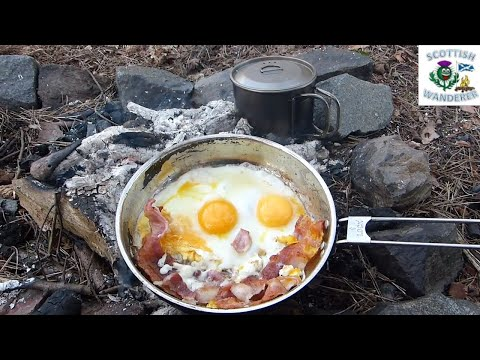 Campfire Cooking Breakfast Bacon And Eggs In The Woods Bushcraft Shelter Msr Alpine Frying Pan