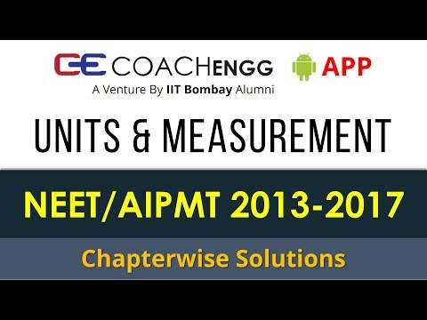 NEET Problems | Units and Measurement | 2013 to 2017 | Chapterwise Solutions by Rohit Dahiya