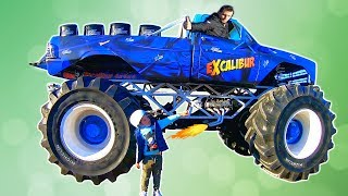 Giant Monster Truck show | Tim and Papa Driving Monster Truck in Real Life