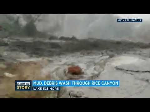 Mud roars down road near Rice Canyon Elementary School | ABC7