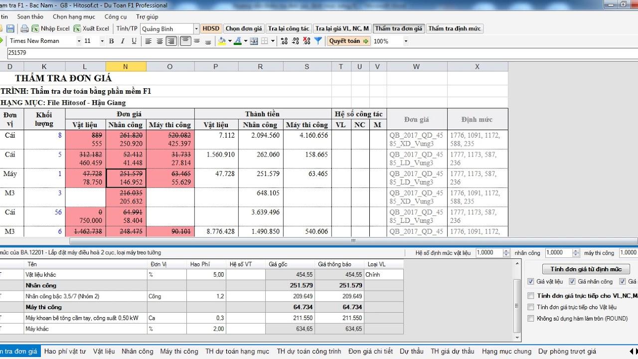 Hướng dẫn thẩm tra dự toán đơn giá định mức từ mọi file excel  bằng Dự toán F1