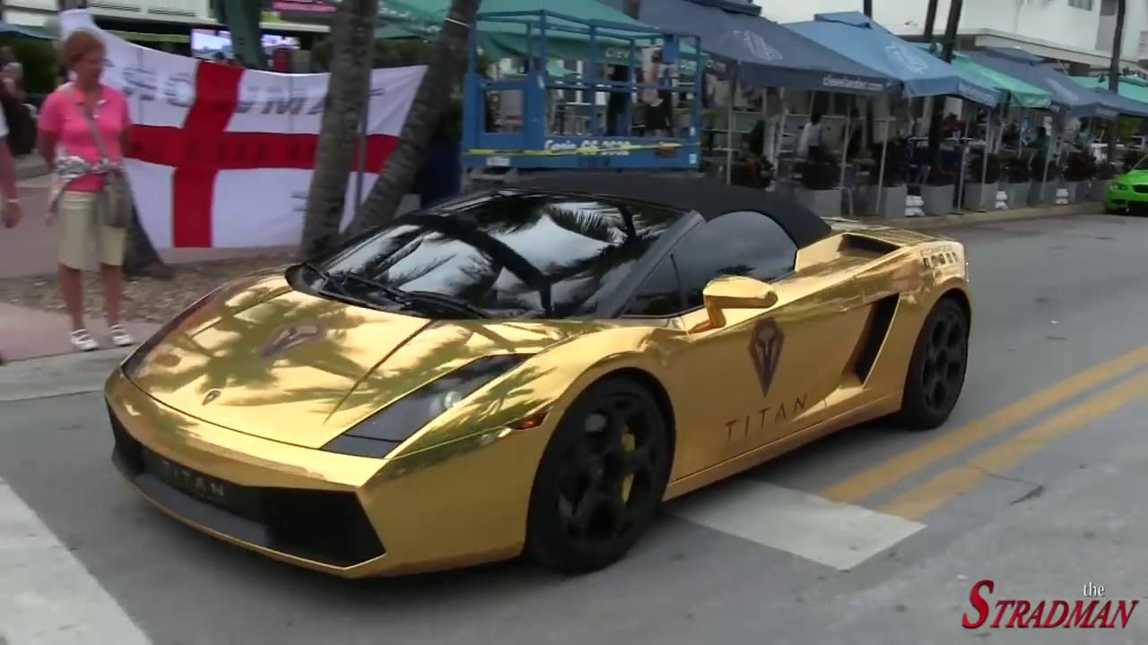 Supercars Chrome Gold Lamborghini Gallardo Accelerating In South