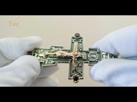 Большой  мужской крест Распятие, Николай Чудотворец. Серебро, золото, гранаты.