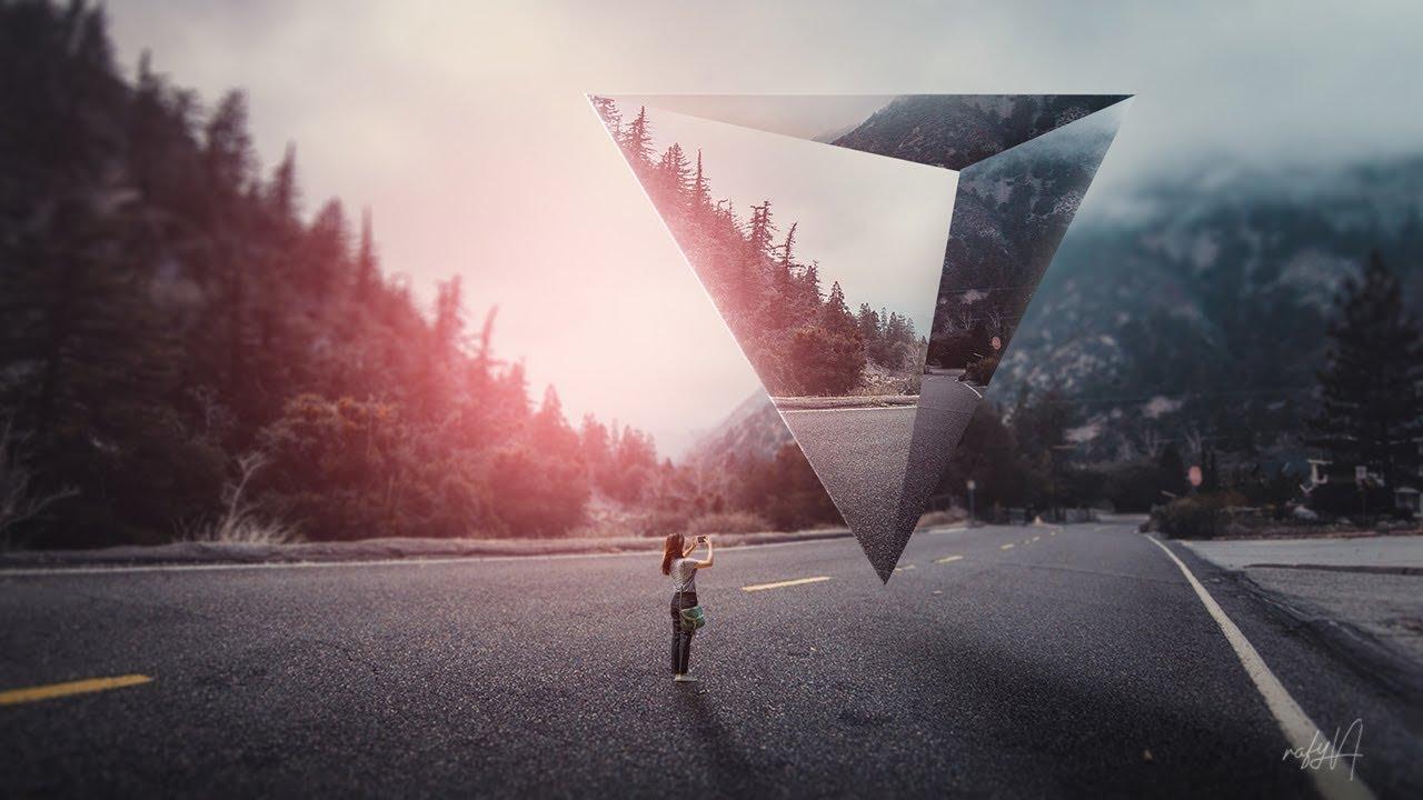 surreal photoshop landscape manipulation geometric tutorial rafy text effect 3d tutorials beginner advanced bashooka