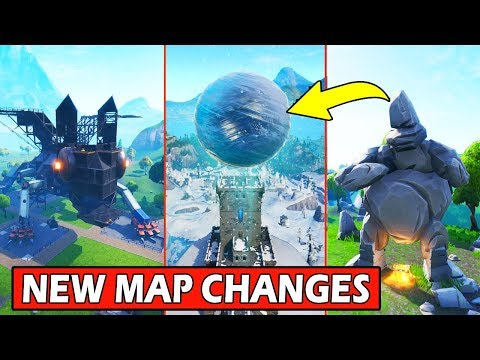 ALL *NEW* MAP CHANGES! FLOATING ICE SPHERE, DRAGON & ROCK MAN! FORTNITE BATTLE ROYALE (v7.20)