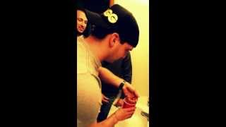 Pat eating goldfish