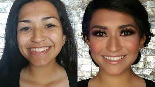 glow glam smoky brown makeup tutorial full face maquillaje glam tutorial