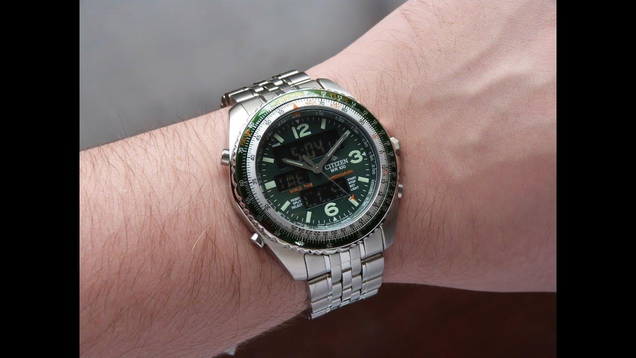 ac4739dd0de Relógio Citizen Wingman Verde JQ8008-58W TZ10075D World Time - YouTube