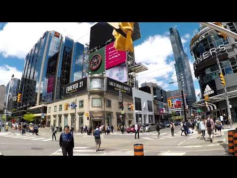 Walking In Toronto Yonge Street South And Bay Street North