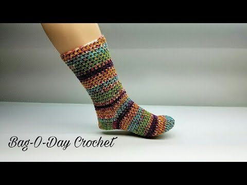 HOW TO CROCHET - CROCHET SOCKS | The Perfect Pair Adjustable Sock | BAG O DAY CROCHET Tutorial #463
