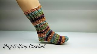 HOW TO CROCHET - CROCHET SOCKS | The Perfect Pair adjustable sock | BAG O DAY CROCHET Tutorial #463