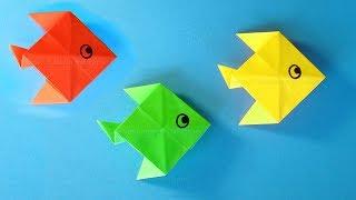 Origami Fisch basteln mit Papier - Basteln mit Kindern 🐟 Einfache Bastelideen