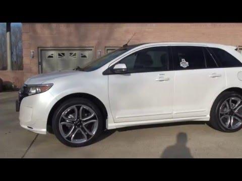 HD VIDEO 2013 FORD EDGE SPORT PLATINUM WHITE USED FRO SALE V6 NAV INFO SEE WWW SUNSETMOTORS COM