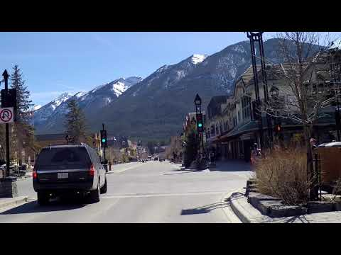 Driving in BANFF Alberta Canada - Small Resort Town - Rocky Mountains