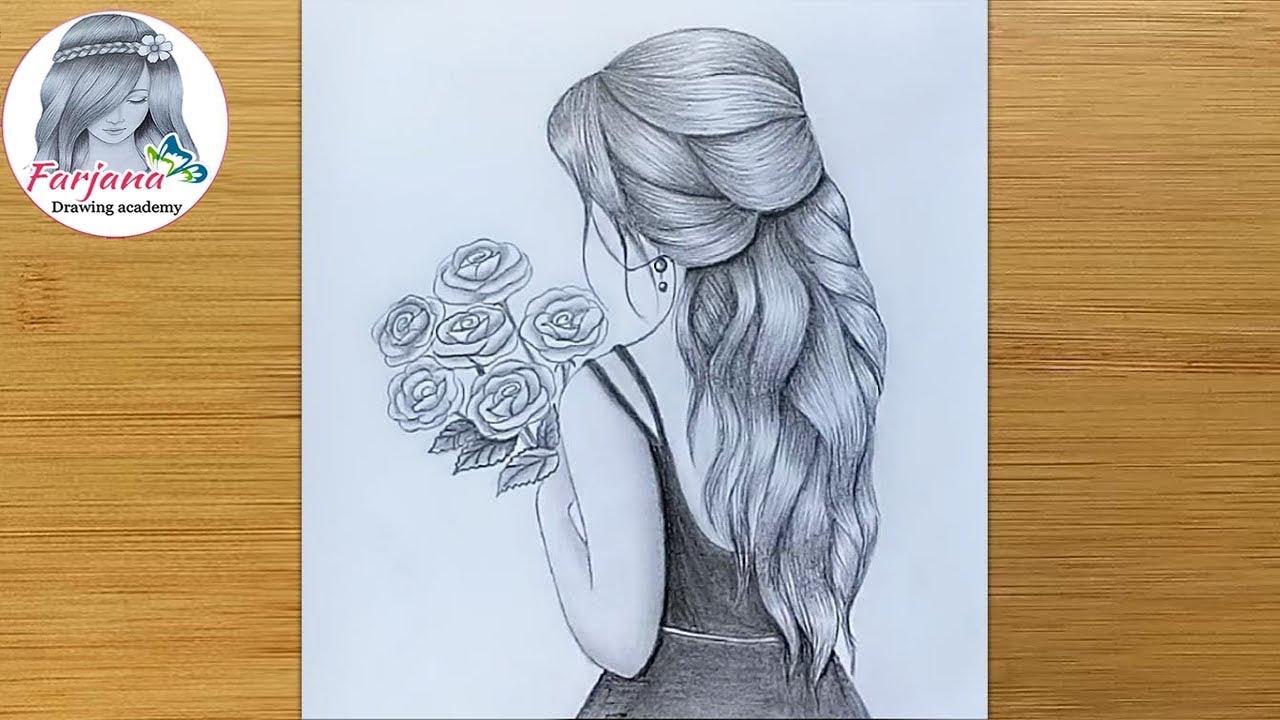 It is a photo of Dashing Women Hair Drawing