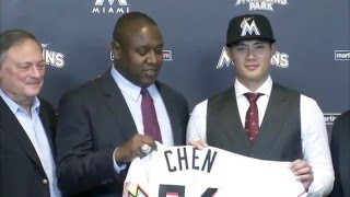 Miami Marlins introduce Wei-Yin Chen