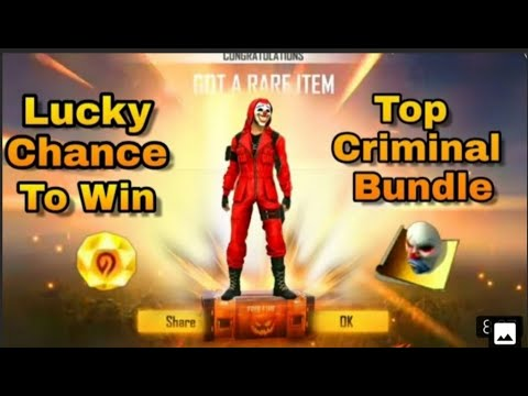 #FreeFire Lucky Chance To Win Top Criminal Bundle 100% Real Video #HINDI