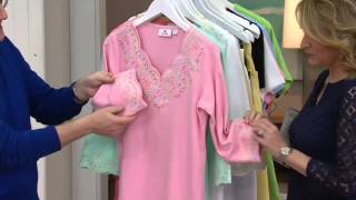 Quacker Factory Lacey Scallop Embroidered 3/4 Sleeve Top on QVC