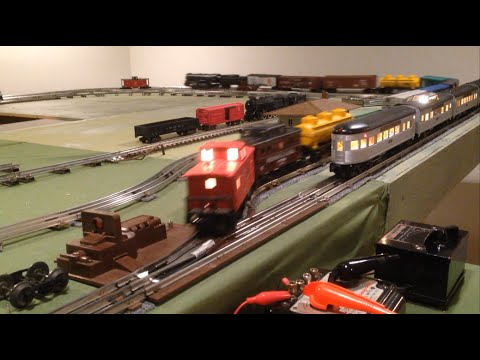basement layout, o-gauge lionel mth model trains with tubular track